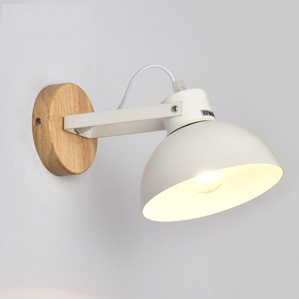 Creative Wood Iron Wall Sconces Simple Modern LED Wall Light Fixtures For Bedroom Wall Lamp Home Indoor Lighting Lamparas 2 colors modern iron wall lamp adjust angle arm bedroom study room work place e14 ac110v 240v wall light sconces fixtures