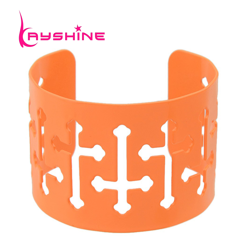 Kayshine Cuff Bracelets For Women With Cruz Hollow Out Pink Yellow Orange  Color Jesus Bangles Bracelet