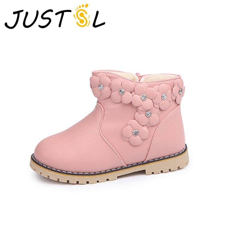 JUSTSL Girls Cotton Boots 2017 New Children Diamond  Plus Cashmere Warm Flowers Shoes Kids Snow Shoes Size 21-30