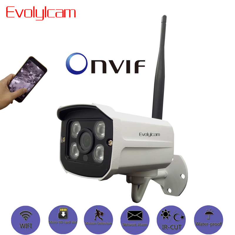 Evolylcam Full-HD 1080P 2MP Wireless Micro SD/TF card slot IP Camera Wifi Network Alarm Onvif P2P CCTV Security IR Bullet Cam escam qd900 wifi ip camera 2mp full hd 1080p network infrared bullet ip66 onvif outdoor waterproof wireless cctv camera