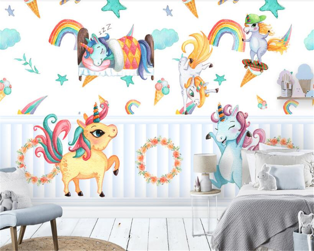 unicorn dimensional beibehang pony painted decoration three children paper