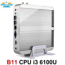 Newest Intel Gen i3 6100U Fanless Mini PC Thin Client Computer Case with 4G RAM 128G SSD