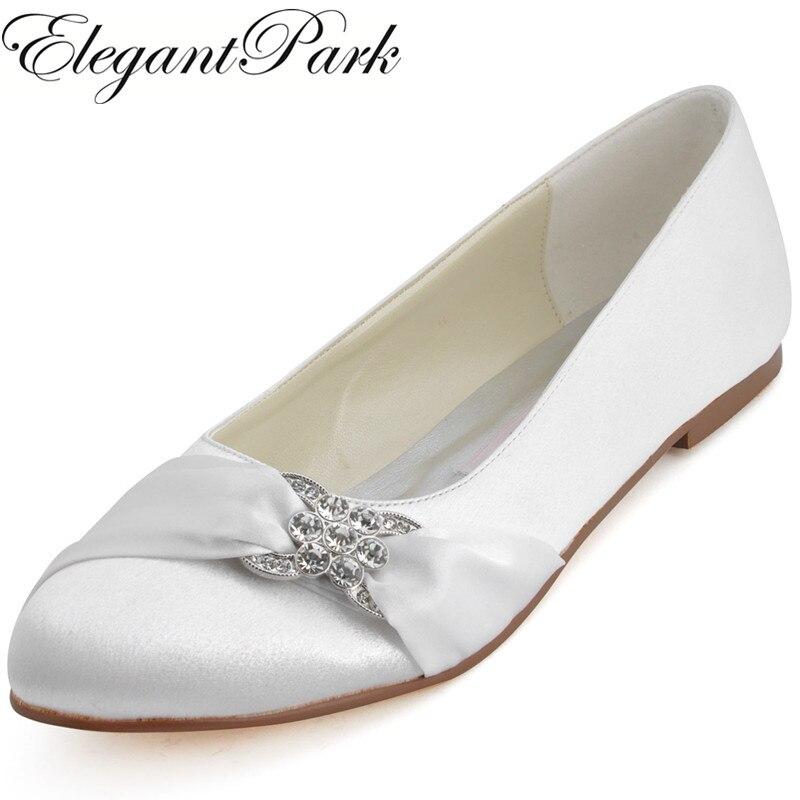 купить Woman White Ivory Bridal Wedding Flats Comfort Round Toe Rhinestone Satin Champagne Red Blue lady Ballet prom party shoes EP2006 по цене 2871.19 рублей