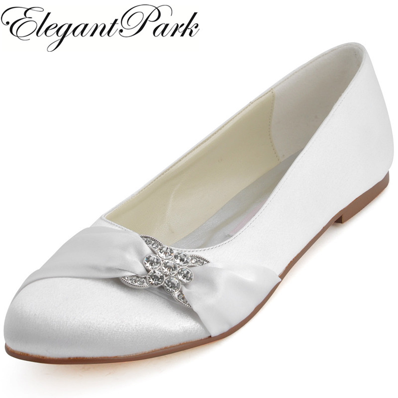Woman White Ivory Bridal Wedding Flats Comfort lady Ballet Round Toe Rhinestone Satin Champagne Red Blue prom party shoes EP2006