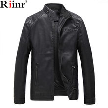 Riinr Brand Motorcycle Leather Jackets Men Autumn and Winter Leather Clothing Men Leather Jackets Male Business Casual Coats(China)
