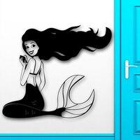 Sexy Girl Vinyl Wall Decal Mermaid Cool Decor for Kids Baby Room Nursery Removable Home Decor Salon Mural Art Wall Sticker