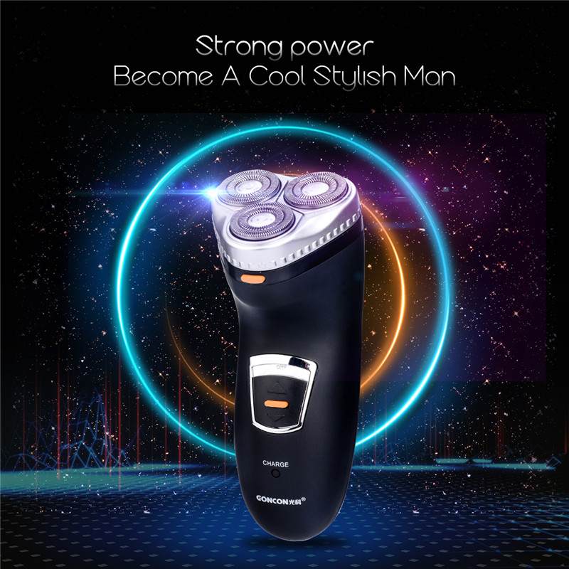 Washable Rechargeable Rotary Three-blade Electric Shaver Razor shaving machine for Men sideburns trimming Double ring veneered men s rechargeable rotary electric shaver