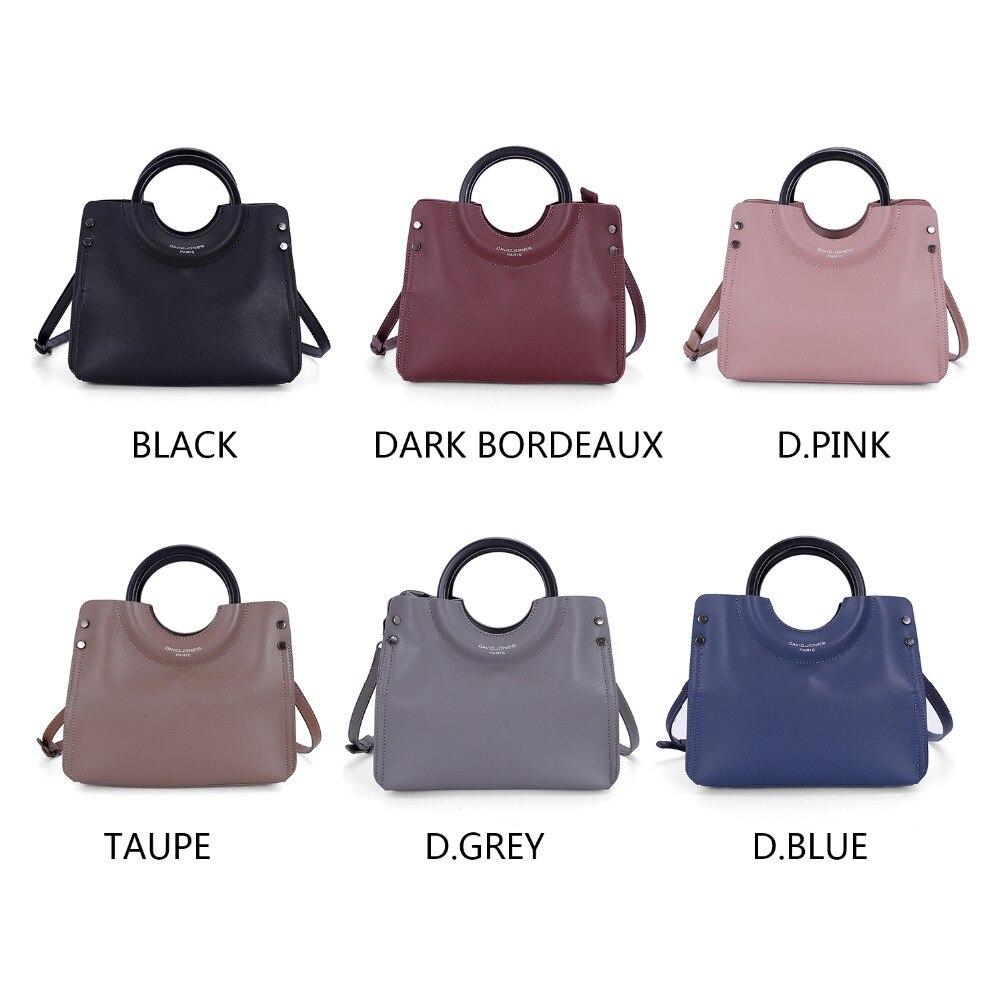 DAVID JONES women handbag faux leather female shoulder bag large lady solid top handle bag girl crossbody bag drop shipping