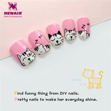 24pcs Kids False Nail Tips Cartoon Cat Full Cover Pink Fake Nails Art Girls Children Acrylic Cute Animals Patterns New