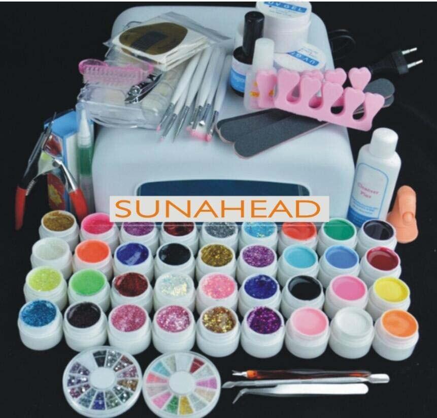 Pro 36W UV builder GEL Lamp & 36 Color UV Gel Nail Art extensions Tool Kits Sets