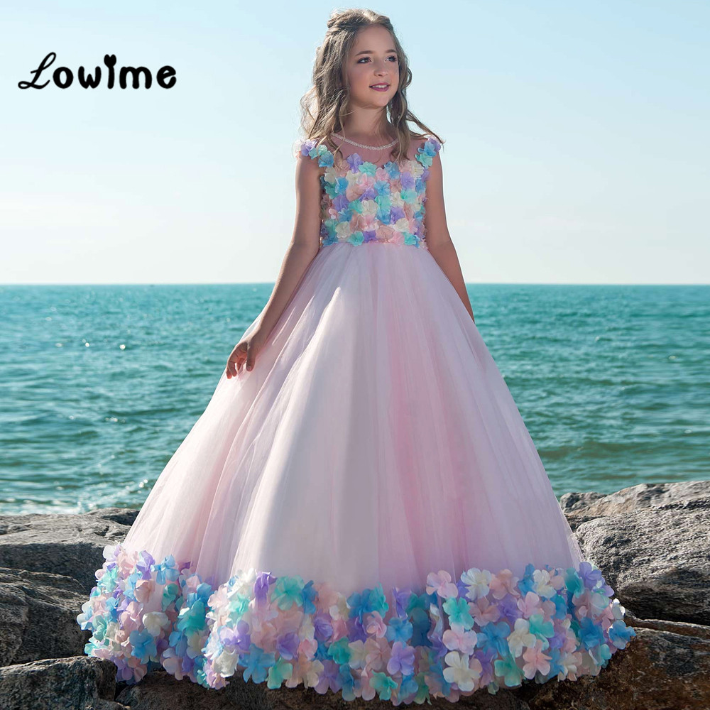 Flower Girl Dresses 2018 Beaded Applique Pageant Dresses For Girls First Communion Dresses Kids Prom Dresses Vestido De Daminha