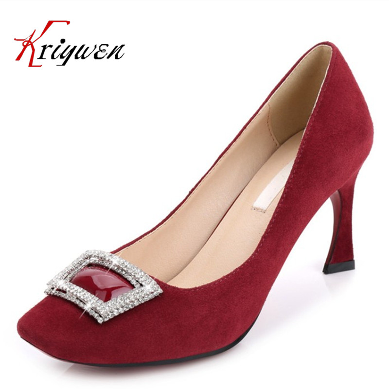 ФОТО New 2017 Women's High Heels cow suede Pumps Sexy slip on Bride Party strange style Heel Shoes for office lady Women size 33-40