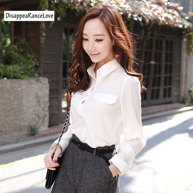 2019 Fashion female elegant white   blouses   Chiffon collar casual   shirt   Ladies tops school   blouse   long-sleeve white chiffon   shirt