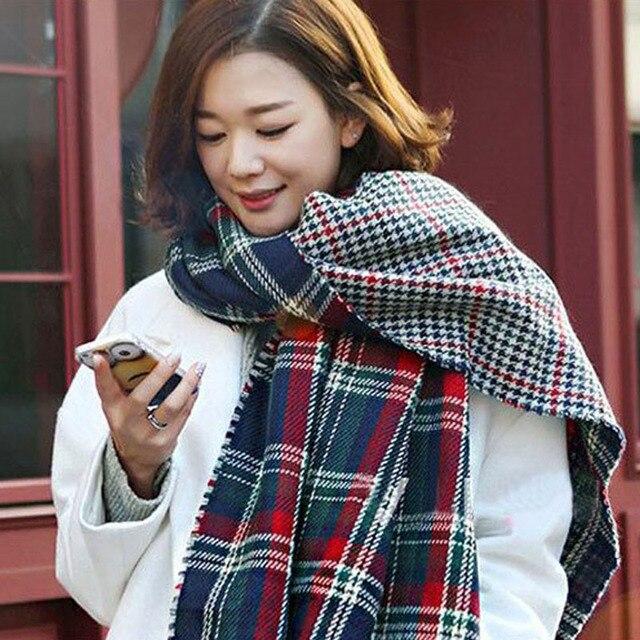 RASMEUP Women Scarves Fashion Houndstooth Winter Warm Plaid Double Side Thick Long Shawl Echarpe Pashmina Cape Ladies Scarf