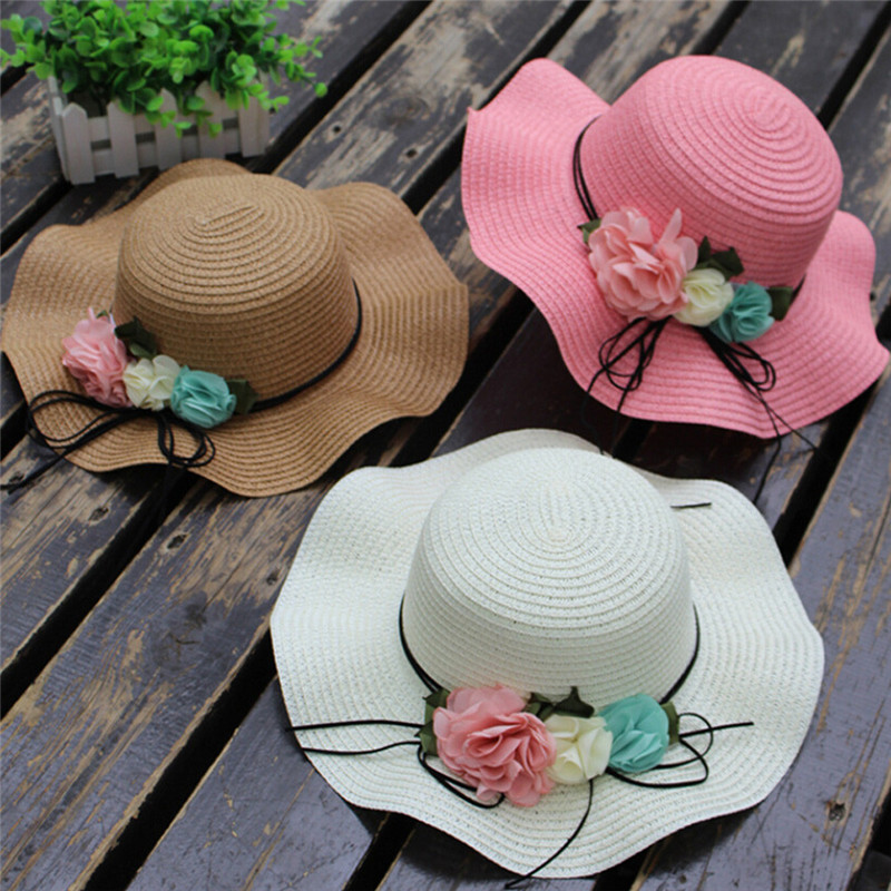 Summer Baby Flower Breathable Hat Straw Sun Hat Kids Hat Boy Girls Hats 2017 fashion summer girls kids children cap princess rose flower decor straw beach sun wide brim hat