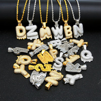 Drip Bubble Initials Letter Name Necklace For Mens Ice Iced Out Chain Zircon gold silver Pendant Men Women Jewelry Couple Gift