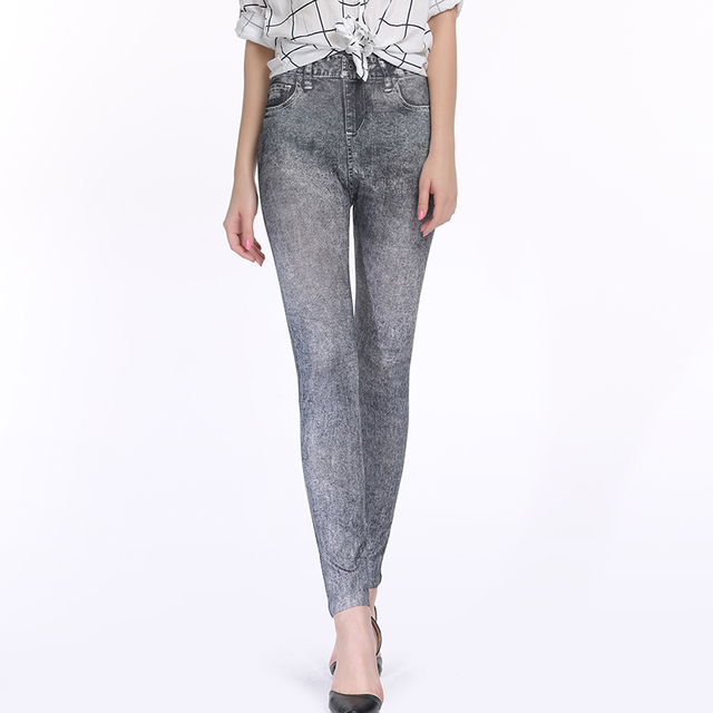 Printed jeggings with pockets