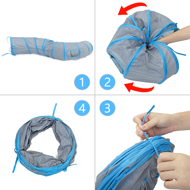 """Drop shipping """"S"""" Cat Toys Tunnel Long 1.2M Lovely Funny Design 2 Windows and 2 Holes Cat Tunnel Toys Kitten Puppy Pet Supplies 5"""