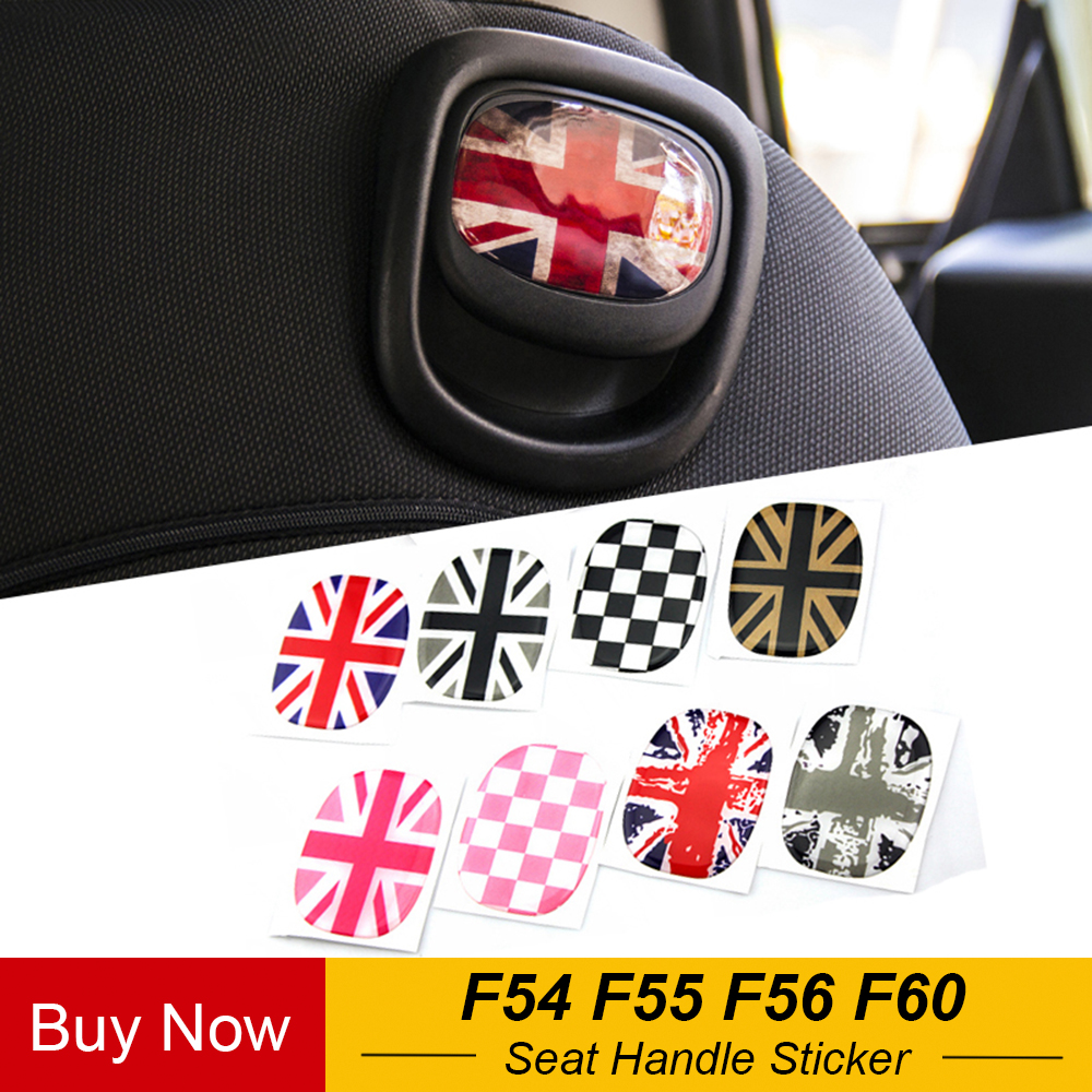 1 Pair Crystal Epoxy Car Rear Seat Back Handle Decal Cover Sticker Protective For Mini Cooper JCW F54 F55 F56 F60 Car Styling
