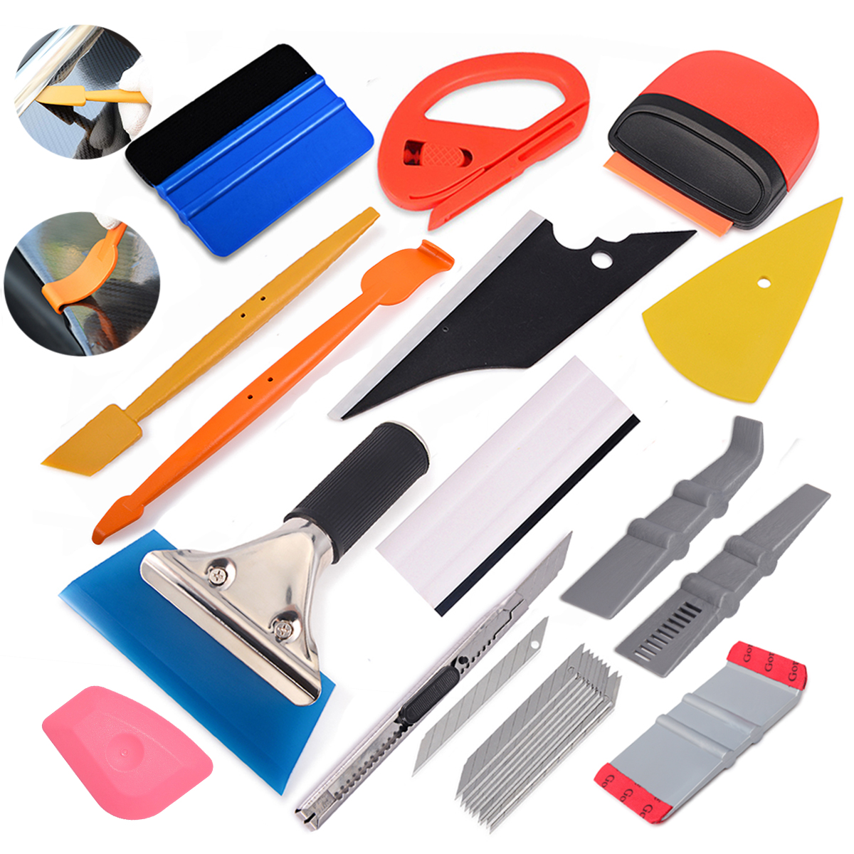 FOSHIO Carbon Fiber Film Vinyl Wrap Car Accessories Tool Kit Magnet Squeegee Clean Scraper Sticker Cutter Window Tinting Tools