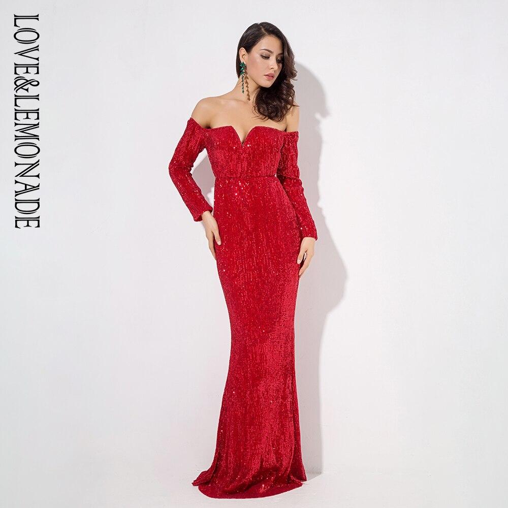 Love Lemonade Red Drop Shoulder Deep V Collar Long Sleeve Elastic Sequin Material Long Dress LM1203