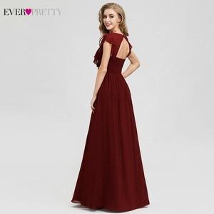 Image 2 - Ever Pretty Burgundy Bridesmaid Dresses A Line V Neck Ruffles Elegant Wedding Guest Dresses EP07902BD Vestidos Fiesta Boda 2020