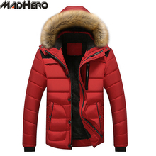 MADHERO Fur Collar Hat Detachable Parka Men Hooded Winter Jackets Thick Warm Snow Men's Coat Ribbed Cuff Windproof Outerwear