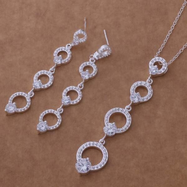 40b1c109d29c As356 caliente plata esterlina Sets para las mujeres y los hombres 925  Juegos de joyería pendiente 511 + collar 131