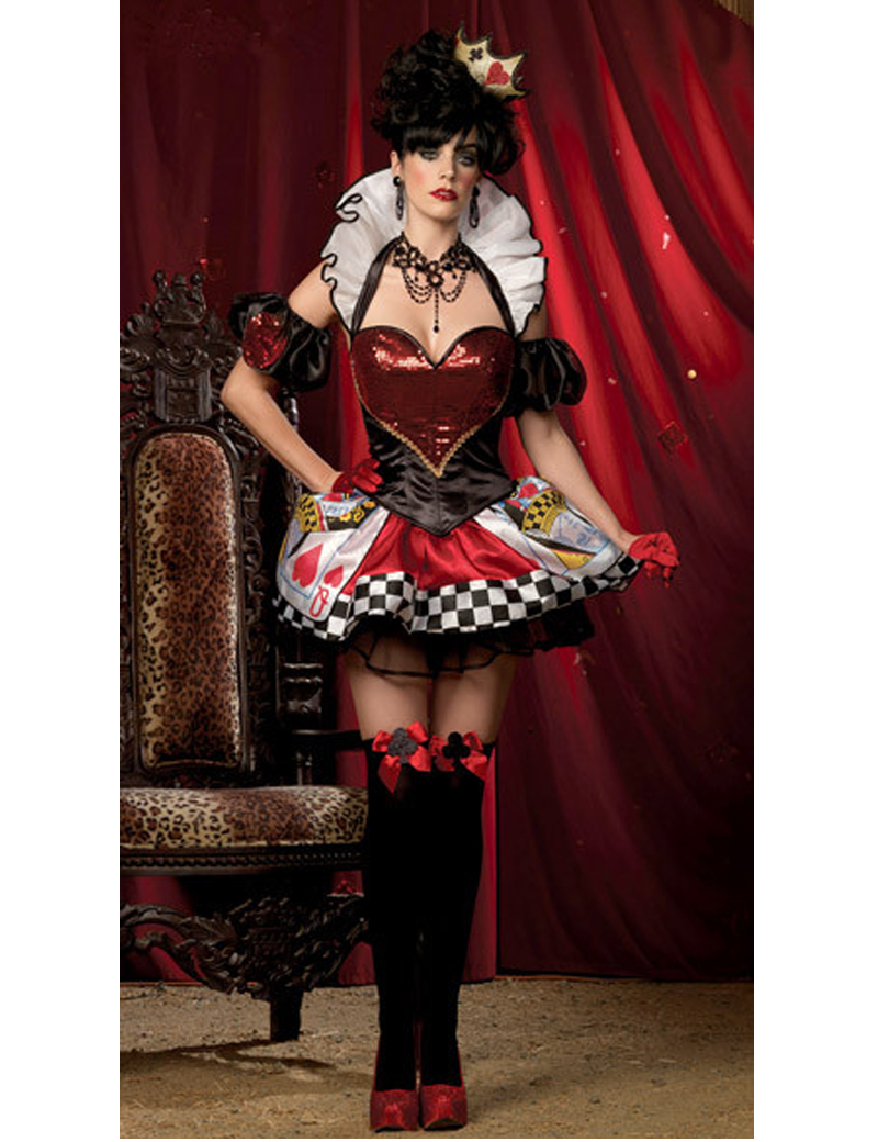 MOONIGHT Hot Seller Elegant Women Queen Of Heart Costumes Sexy Queen Cosplay Halloween Costumes For Women