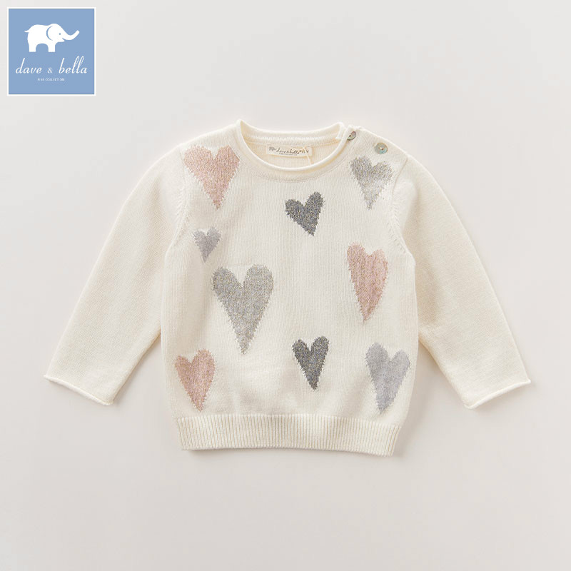 DB6223 dave bella autumn newborn baby girls wool pullover tops infant heart printed clothes toddler children knitted Sweater