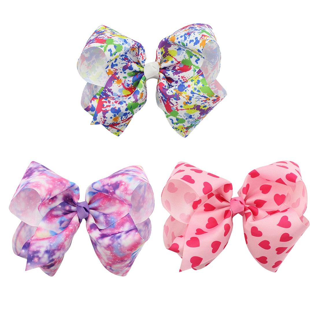 Hair Bows Graffiti Ribbon  Handmade Hairgrips Kids Bow Clips Fashion Accessories for Girls big bow