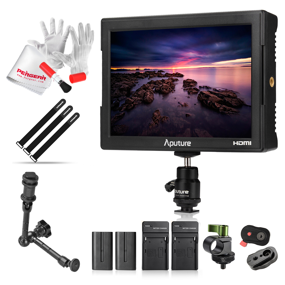 Aputure VS-5 7 Inch SDI HDMI Camera Field Monitor with RGB Waveform/Vectorscope/Histogram/Zebra +Battery+Sun Hood+11 Magic Arm 1 pc phone hood monitor hood for rc monitor drone phone shading sun accessories