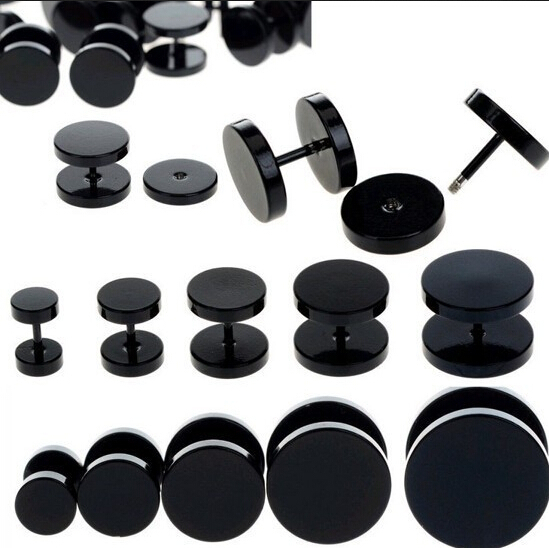2pcs Black Stainless Steel <font><b>Fake</b></font> Cheater <font><b>Ear</b></font> Plugs Gauge Body Jewelry Pierceing Earring For Men Hot Sale Free Shipping image