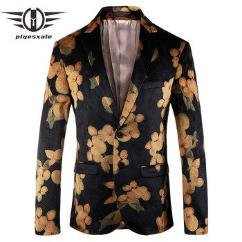 caf0d69ff9c11 Plyesxale Erkek Çiçek Blazer Marka Rahat Blazer Ceket Erkekler Altın Çiçek  Moda Baskı Blazers Erkek Balo Parti Sahne Giyim Q151