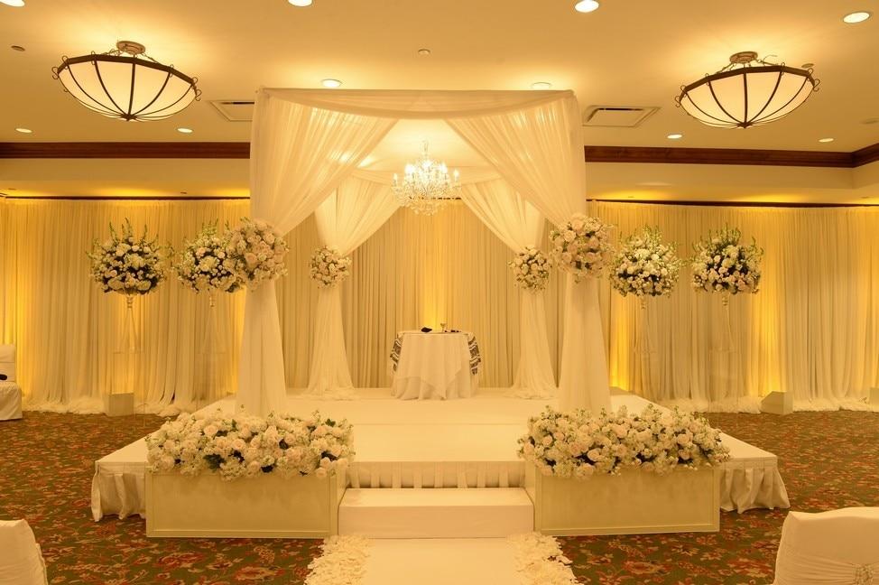 3 M * 3 M * 3 M Romantique blanc carré couvert rideaux avec Support en acier inoxydable, de scène de mariage rideau De Mariage D'approvisionnement