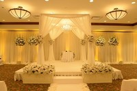 3M*3M*3M Romantic white square canopy drapes with stainless steel Stand,wedding stage curtain Wedding Supply