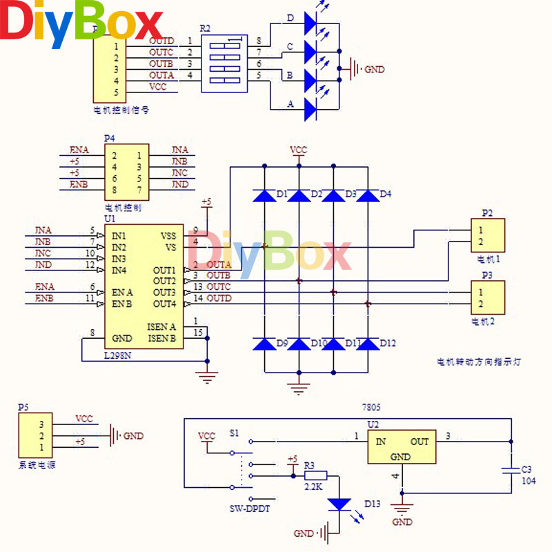 New Green Board L298n Dual H Bridge Dc Step Motor Drive Controller