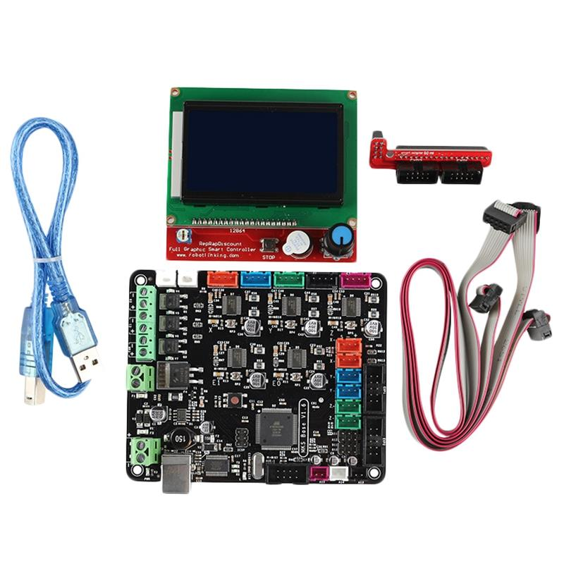 3D Printer Motherboard Kit Mks Base V1.6+12864Lcd Compatible With Mega2560 Ramps1.4 3D Printer Parts & Accessories     - title=