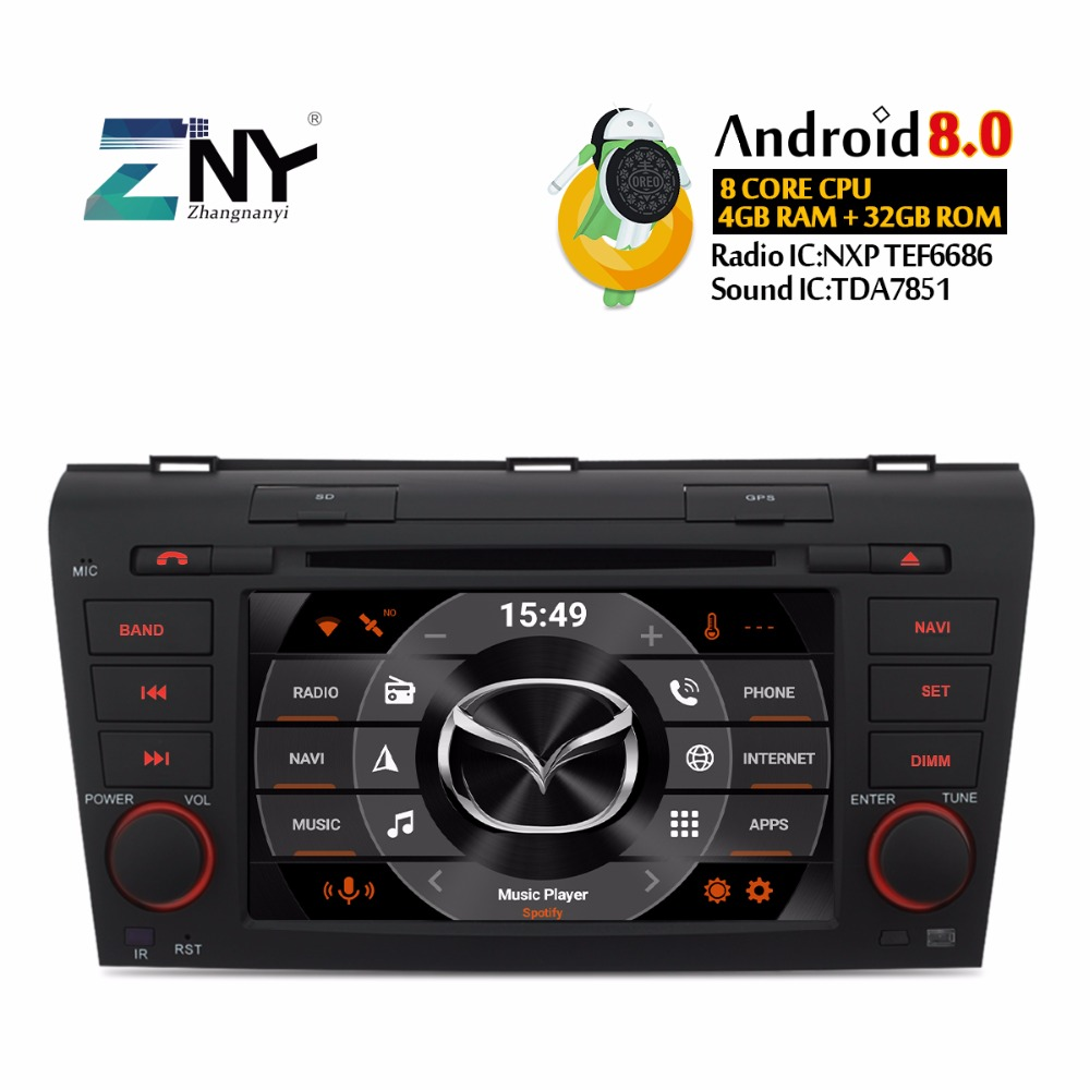 Android 8.0 7.1 Auto Radio 2 Din Stereo For Mazda 3 2004 2005 2006 2007 2008 2009 7 HD Screen GPS Navigation DVD
