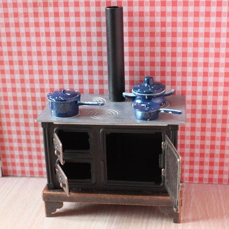 A01 X145 children baby gift Toy 1:12 Dollhouse mini Furniture Miniature baby alloy black stove 1pcs