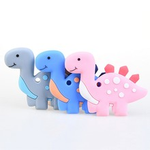 Baby Teether Dinosaur Baby Teethers Pendant Necklace Accessories BPA Free Silicone Animal Teething Chew Toddler Toy Dropshipping(China)