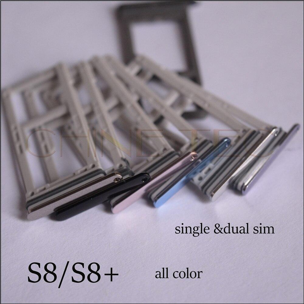 imágenes para 10 unids nueva original para samsung galaxy s8 s8 más g955 g950 SIM Card Holder Bandeja de la Ranura Para Tarjeta SD Adaptador de todo el color, single dual sim