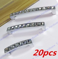 20pcs Hole Pitch 64mm/96mm/128mm Zinc Alloy crystal handle drawer handle furniture handle cabinet handle