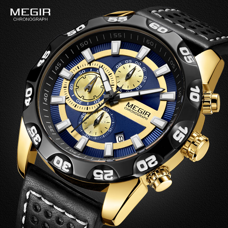 Megir Leather Strap Sports Quartz Watches Men Chronograph Military Top Brand Luxury Wrist Watch for Man Relogios 2096G Gold Blue top luxury brand megir quartz watches men analog military chronograph clock men sports leather strap casual wrist watch 2016 new