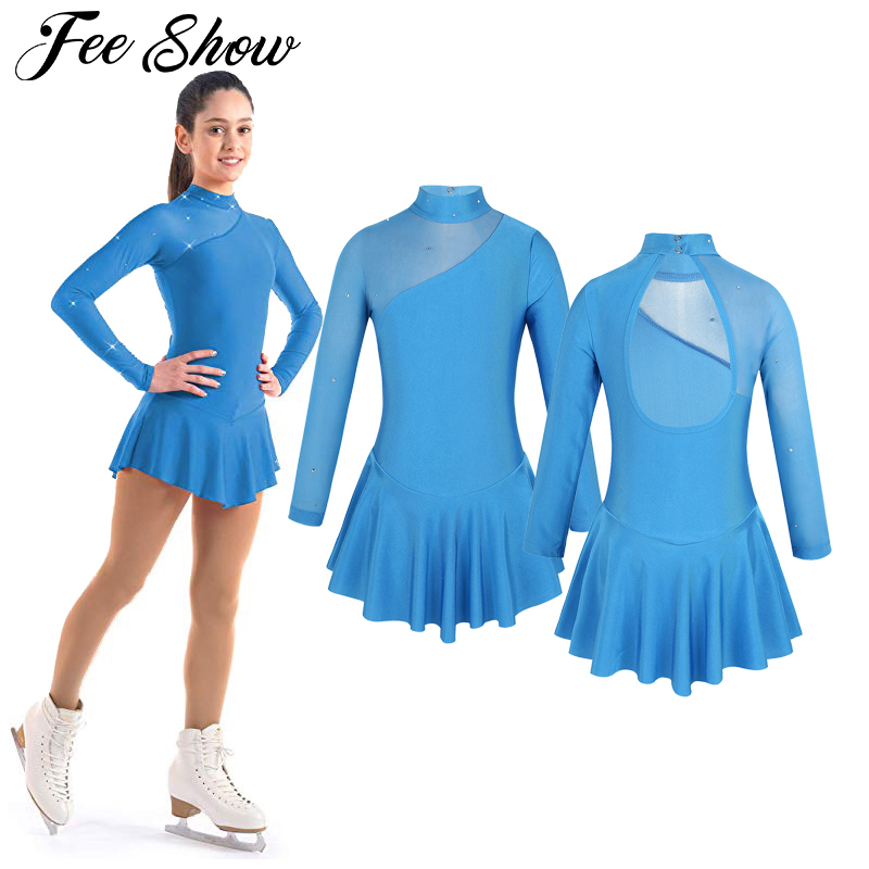 Kids Girls Tulle Splice Cutouts Back Figure Ice Skating Dress Ballet Dance Dress For Stage Performance Competition Costumes