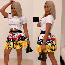 Women new summer vintage cartoon letter print high waist above knee mini pleated skirts retro fashion skirt outfit Z022
