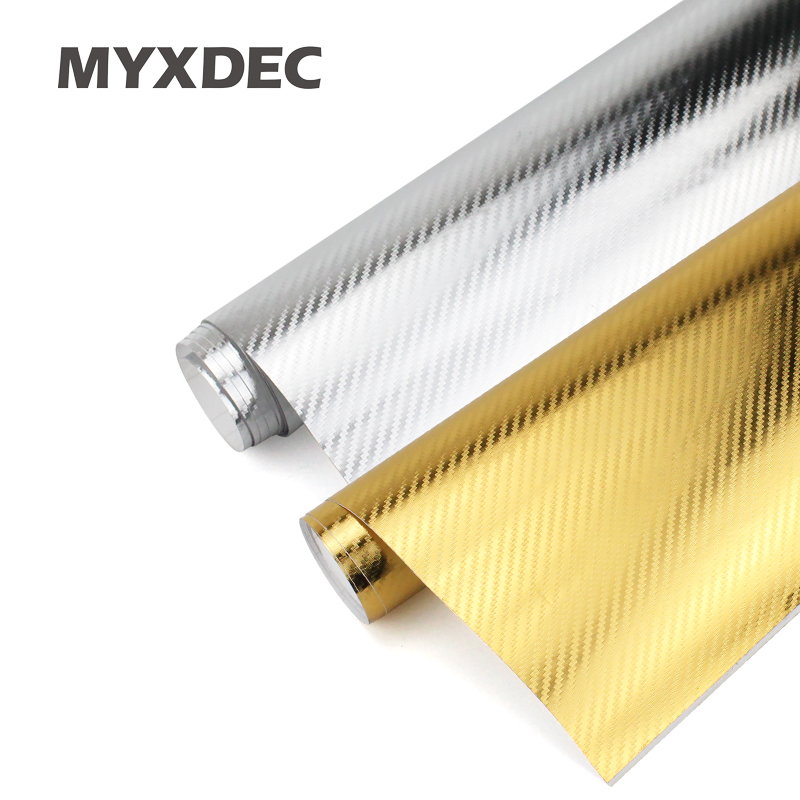152*30CM 3D Carbon Fiber Vinyl Car Wrapping Foil Car Motorcycle Sticker Decoration Gold/Silver Electroplate Stickers Car Styling