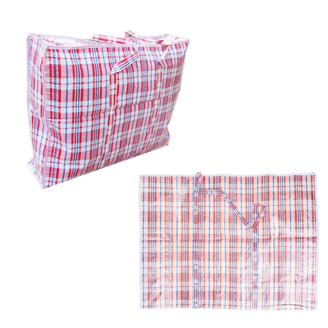 New Plastic Woven Storage Bag Zipped Reusable Large Strong Ping Laundry Bags