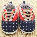 New Child Infant Newborn Canvas Lace Up Shoes Baby Girls Boys Dots Star Print Antiskid Prewalker Sneaker