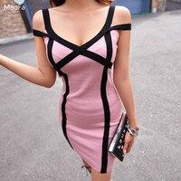 2018 Summer Dress New Korean Knitted Dress Female Deep V neck Sexy Party Dress Streetwear Bodycon Women Pink Clubwear